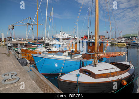 Colourful boats in Hundested Harbour on the corner of Kattegat and the inlet Isefjord. - Stock Photo