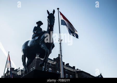 Statue of Wilhelmina on a horse at the Rokin - Amsterdam, Netherlands, Europe - Stock Photo