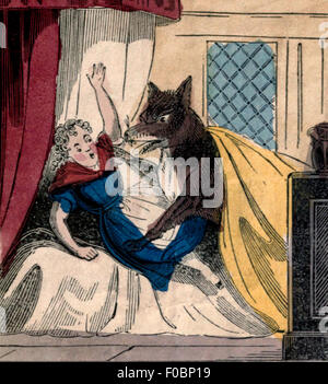 Wolf attacking grandmother in Little Red Riding Hood - Stock Photo
