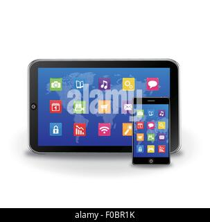Tablet pc and touchscreen smartphone - Stock Photo