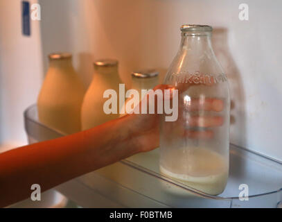 Milk . . Peterborough, UK . . 11.08.2015 A girl gets a bottle of milk from a fridge in Peterborough, Cambridgeshire. - Stock Photo