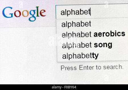 Google search for 'alphabet' - the name of their new parent company. Screen shot - Stock Photo