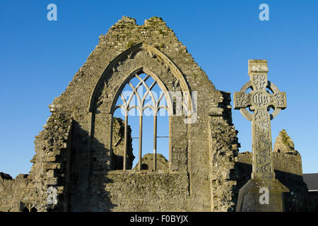 Athenry Dominican Friary, dedicated to Saints Peter and Paul,found at 1241,remains details,and stone cross - Stock Photo