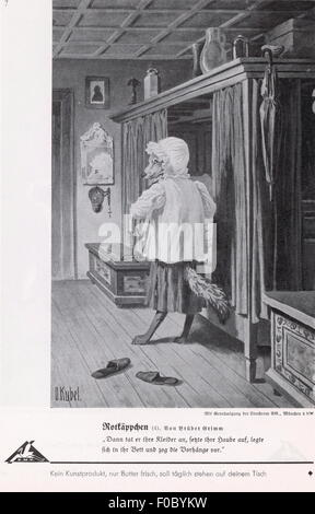 literature, fairy tales, brothers Grimm, 'Little Red Riding Hood', wolf disguising as grandmother, illustration - Stock Photo