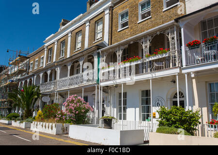 Georgian terrace row of  hotels and guest houses in Southend-on-Sea - Stock Photo