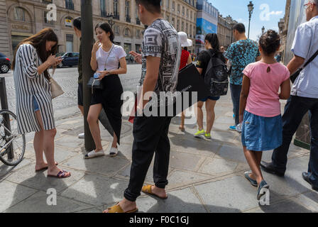 Paris, France, crowd busy street city, Chinese Tourists, Shopping, Luxury Fashion Brand Stores, Rue de Faubourg - Stock Photo