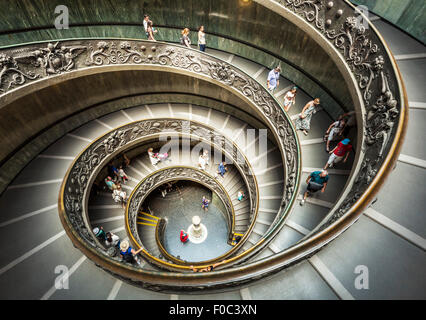 Spiral Staircase designed by Giuseppe Momo in 1932  is a double helix staircase Vatican Museum Vatican City Rome - Stock Photo