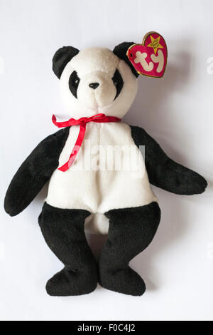 Fortune the Panda ty beanie original baby soft cuddly toy isolated on white background - Stock Photo