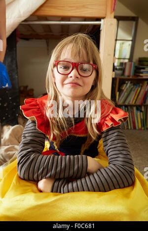 Portrait of young girl in fancy dress costume - Stock Photo