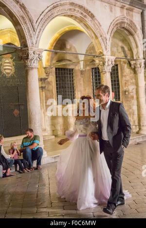 Lebanese singer Naywa Karam shooting a music video with a wedding
