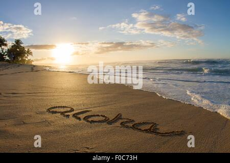 Aloha, written in the sand on beach, Hawaii - Stock Photo