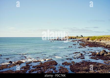 Distant view of Pigeon Point lighthouse, California, USA - Stock Photo