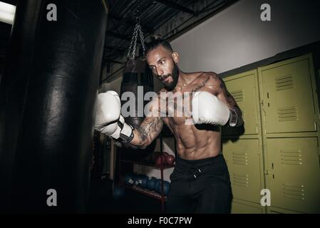 Male boxer training on gym punch bag - Stock Photo