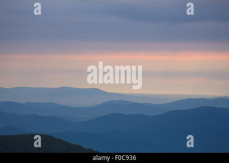 Appalachian Mountains with early morning light and mist - Stock Photo