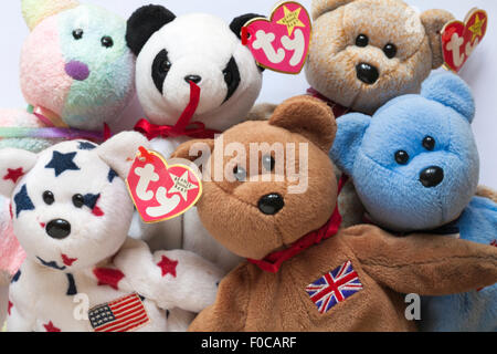 selection of ty original beanie baby teddy bears set on white background - Stock Photo