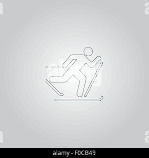 Skiing vector icon - Stock Photo