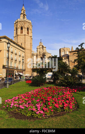 Plaza De La Reina and Cathedral, Valencia - Stock Photo