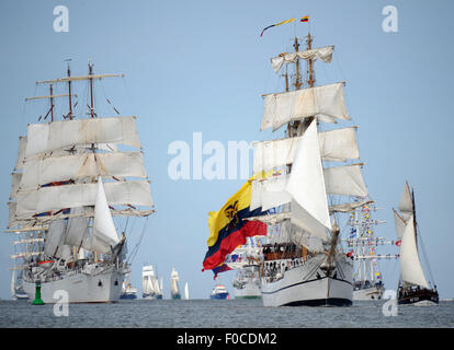 Bremerhaven, Germany. 12th Aug, 2015. The first tall ships lay ready for the 9th International Windjammer Sail Festival - Stock Photo