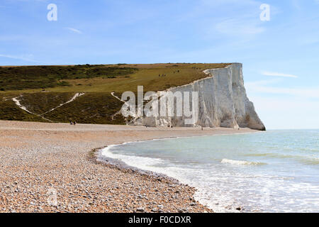 View of the Seven Siters as seen from the beach at Cuckmere Haven, East Sussex, england, UK - Stock Photo