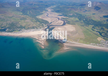 Aerial view from 4,000 feet of Mawddach estuary, Barmouth / Abermaw to left of frame and Fairbourne Gwynedd Mid - Stock Photo