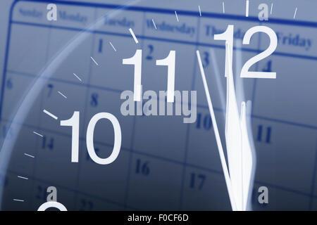 Clock Face and Calendar - Stock Photo