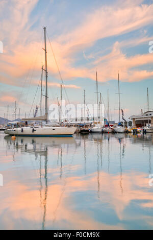 Boats at the yacht club in Mikrolimano marina in Athens, Greece - Stock Photo