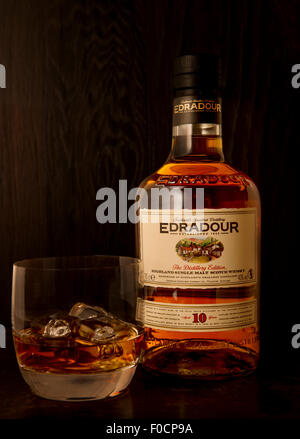 Edradour single malt scotch whisky from the smallest distillery in Scotland - Stock Photo