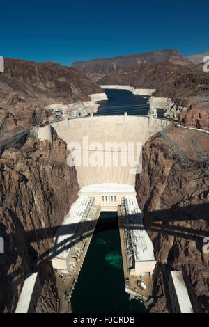 SOUTH FACE HOOVER DAM BLACK CANYON LAKE MEAD NEVADA USA - Stock Photo