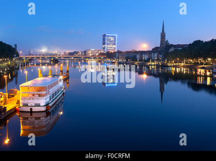 Weser River, major river of western Germany that serves as an important transport artery from Bremerhaven and Bremen. - Stock Photo