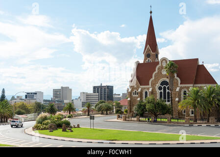 City view and Lutheran Christ Church, Fidel Castro Street, Windhoek (Windhuk), Khomas Region, Republic of Namibia - Stock Photo