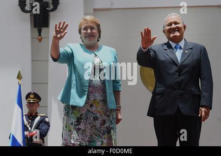 San Salvador, El Salvador. 12th Aug, 2015. Image provided by Chile's Presidency shows Salvadoran President Salvador - Stock Photo