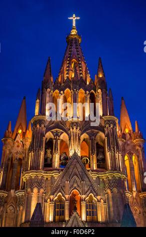 La parroquia de san miguel arcangel church in San Miguel de Allende , Mexico - Stock Photo