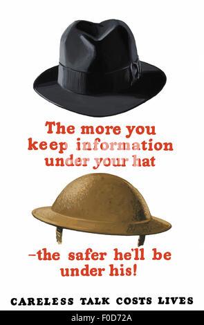 Vintage World War II poster featuring a fedora and an Army helmet. It reads: The more you keep information under - Stock Photo
