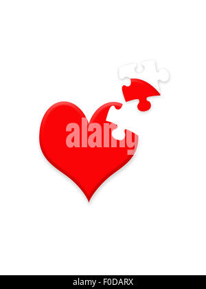 Valentine illustration showing heart with missing jigsaw piece - Stock Photo