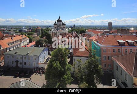 Upper Town with Alexander Nevsky Cathedral, Aleksander Nevski Katedraal, seen from the tower of the Toomkirik cathedral, - Stock Photo