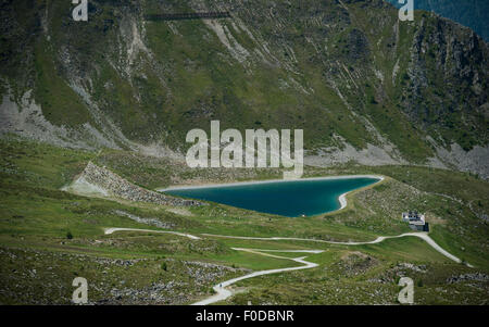 Reservoir in the shape of a heart, Goldried, High Tauern National Park, Matrei, East Tyrol, Tyrol, Austria