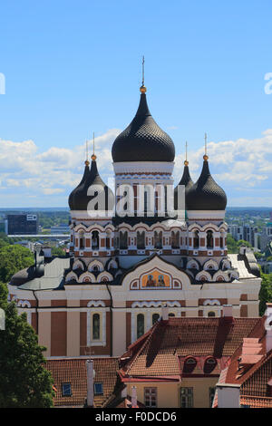 Alexander Nevsky Cathedral, Aleksander Nevski Katedraal, seen from the tower of the Toomkirik cathedral, Tallinn, - Stock Photo
