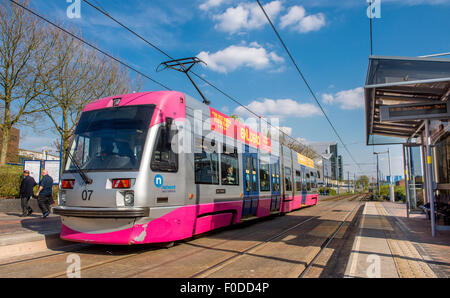 A Midland Metro tram at West Bromwich Central tram station, West Midlands, England. - Stock Photo