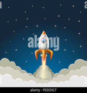 flying rocket on a starry blue background. vector illustration - Stock Photo