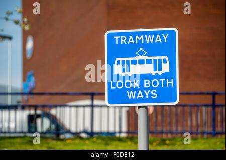 Sign on the Midland Metro tram tram system, West Midlands, England. - Stock Photo