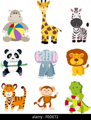 set of vector jungle cartoon animals - Stock Photo