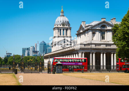 London Southbank Greenwich Maritime Royal Naval College neo classical University red double decker bus from The - Stock Photo