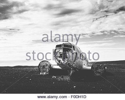 Iceland, 1973 United States Navy Douglas Super DC-3Plane Wreck - Stock Photo
