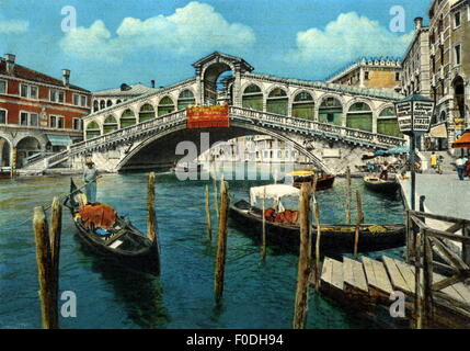 geography / travel, Italy, Venice, bridges, Rialto Bridge, picture postcard, circa 1963, Additional-Rights-Clearences - Stock Photo