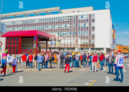 Fans outside metro station, during 2015 Ice Hockey World Championships, Ceskomoravska, Prague, Czech Republic, Europe - Stock Photo