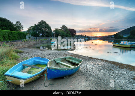 Boats at sunrise on the river Tamar at Millbrook in Cornwall - Stock Photo