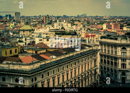 view from the roof of Milan Cathedral. - Stock Photo
