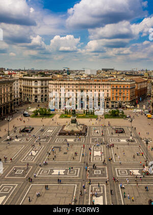 Aerial view of Piazza del Duomo and  King Victor Emmanuel II statue. Milan, Italy - Stock Photo