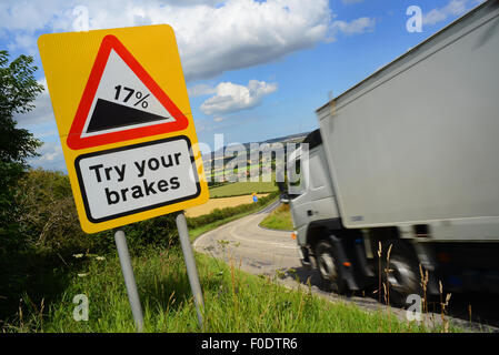 lorry passing try your brakes warning sign above staxton hill yorkshire united kingdom - Stock Photo