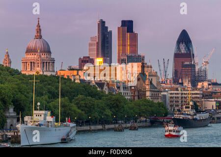 View from Waterloo bridge looking towards the City Of London and St Paul's Cathedral , one of the most iconic views - Stock Photo